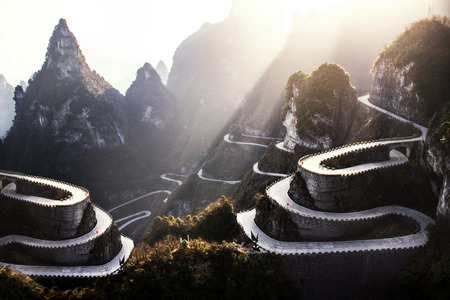 The winding road on the mountain, China