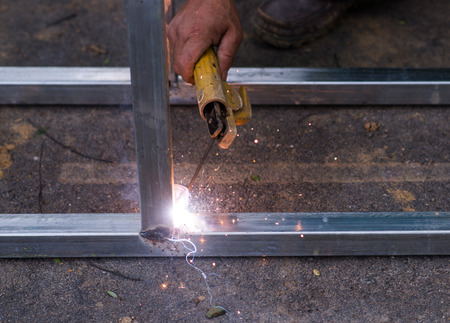 fabricator: Arc welding of a steel at work site Stock Photo