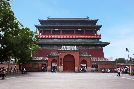 BEIJING, CHINA - JUNE 29, 2016. Gulou, bell tower of Beijing. The ancient building is situated in the old town, originally built for musical reasons, later used to announce time. Editorial