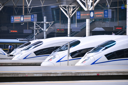 highspeed: TIANJIN, CHINA - JUL 04, 2016: Tianjin Railway Station for high-speed trains. Hexiehao is a bullet train of CRH (China Railway High-speed).