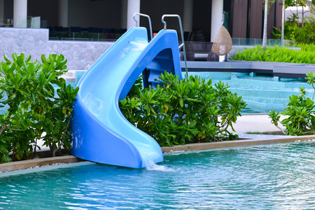 water slider at swimming pool