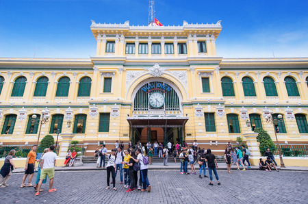 center hall colonial: HO CHI MINH CITY, VIETNAM - DEC 11, 2016: Interior of Saigon center post office which have over 130 years history on December 11, 2016. Ho Chi Minh is the biggest city in Southern of Vietnam Editorial