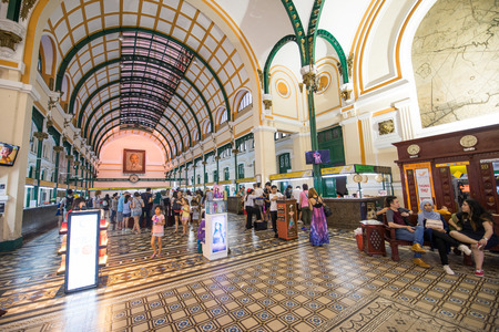 HO CHI MINH CITY, VIETNAM - DEC 11, 2016: Interior of Saigon center post office which have over 130 years history on December 11, 2016. Ho Chi Minh is the biggest city in Southern of Vietnam Editorial