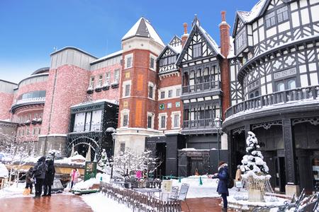 Japan, Sapporo - JAN 13, 2017 : Ishiya, chocolate factory on January 013, 2017 in Hokkaido. The company's flagship product is the Shiroi Koibito cookie