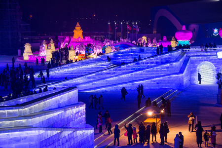 exposición: HARBIN, CHINA - JAN 21, 2017: Harbin International Ice and Snow Sculpture Festival is an annual winter festival that takes place in Harbin. It is the world largest ice and snow festival.