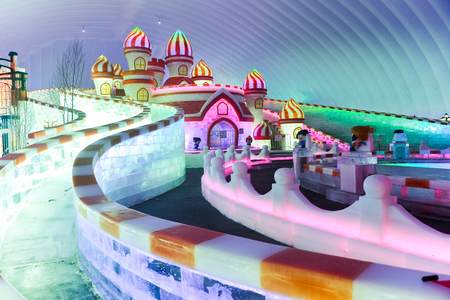 HARBIN, CHINA - JAN 21, 2017: Harbin International Ice and Snow Sculpture Festival is an annual winter festival that takes place in Harbin. It is the world largest ice and snow festival.