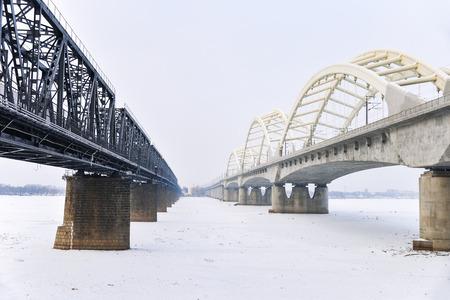 comtemporary: Harbin, Heilongjiang Province, China Songhua (Sungari) River and Binzhou Railway Bridge