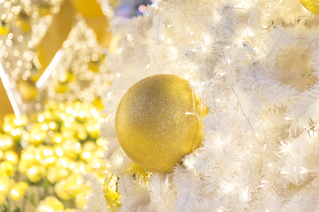Christmas tree and decorations and lights Stock Photo