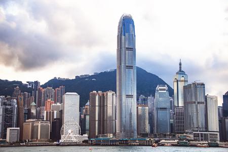 HONG KONG - APR 19: City Landscape of Hong Kong from Kowloon side across from Victor Harbor, Hong Kong. April 19, 2017. The Landmark of Hong Kong.