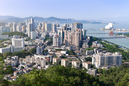 ZHUHAI, CHINA - APR 16, 2017: Zhuhai or Pearl city is also one of China's premier tourist destinations,  and also was one of the original Special Economic Zones established in the 1980s .