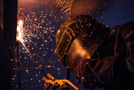 Arc welding of a steel in construction site Stock Photo