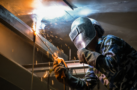 mig: Arc welding of a steel in construction site Stock Photo