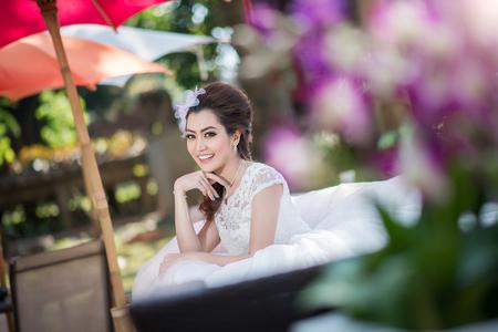 atractive: Happy Beautiful bride in wedding dress