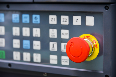 emergency stop button of machine Stock Photo