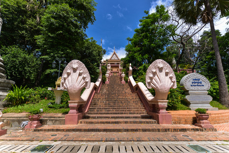 Wat Phnom is a Buddhist temple located in Phnom Penh, Cambodia. It is the tallest religious structure in the city. Editorial