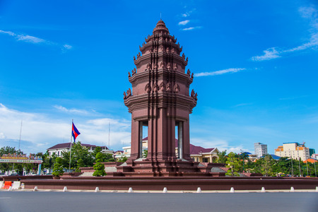 The Independence monument with  Khmer architectural style, in Phnom Penh, Cambodia capital city Редакционное