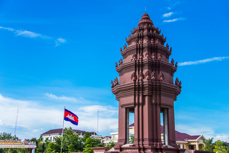 The Independence monument with  Khmer architectural style, in Phnom Penh, Cambodia capital city Фото со стока - 83839315