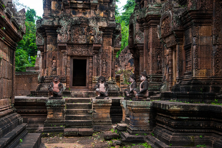 Banteay Srei is built largely of red sandstone and is a 10th-century Cambodian temple dedicated to the Hindu god Shiva, Siem Reap, Cambodia