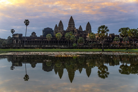 Angkor Wat is a temple complex in Cambodia and the largest religious monument in the world Stock Photo