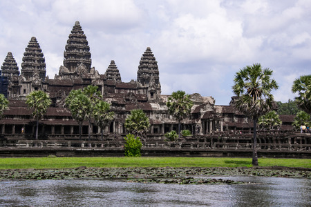 Angkor Wat is a temple complex in Cambodia and the largest religious monument in the world Фото со стока
