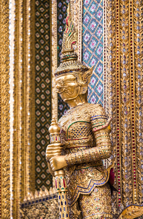 A statue of Yaksa on temple guard at the Temple of the Emerald Buddha, Bangkok, Thailand Stock Photo