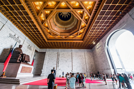 TAIPEI, TAIWAN - OCT 07, 2017: Chiang Kai-shek Memorial Hall in Taipei, Taiwan, is a national monument, landmark and tourist attraction erected in memory of President Chiang Kai-shek.