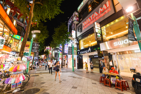 TAIPEI, TAIWAN - OCTOBER 10, 2017: Ximending is a neighborhood and shopping district in the Wanhua District of Taipei, Taiwan. It was the first pedestrian zone in Taiwan