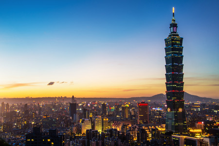 TAIPEI, TAIWAN - OCT 09, 2017: known as the Taipei World Financial Center is a landmark skyscraper in Taipei, Taiwan. The building was officially classified as the worlds tallest in 2004 until 2010. Editorial