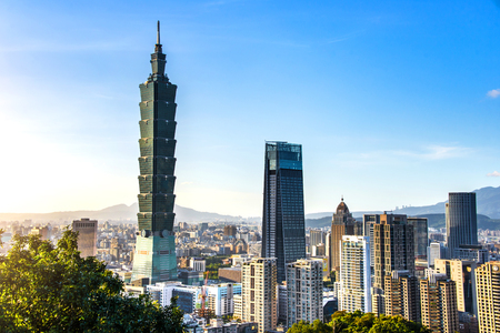 TAIPEI, TAIWAN - OCT 09, 2017: known as the Taipei World Financial Center is a landmark skyscraper in Taipei, Taiwan. The building was officially classified as the worlds tallest in 2004 until 2010. Publikacyjne