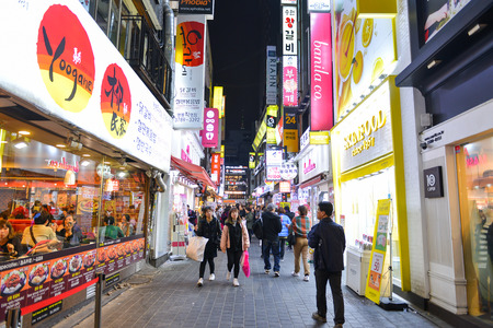 SEOUL, SOUTH KOREA - NOV 13, 2017: Myeong-dong is one of the busiest places in Seoul and is among Koreas premier shopping destinations.