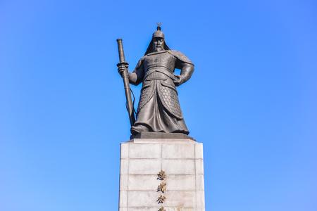 SEOUL, SOUTH KOREA - NOV 14, 2017: The Statue of Admiral Yi Sun-Shin was erected at the front of Gwanghwamun Square, South Korea.