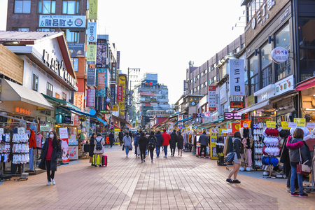 SEOUL, SOUTH KOREA - NOV 14, 2017: Hongdae(Hongik University) shopping street. Hongdae is a shopping cultural street for young people in Seoul.