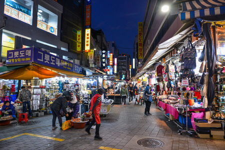 SEOUL, SOUTH KOREA - NOV 14, 2017: Namdaemun Market is the largest traditional market in Korea with shops selling various goods.