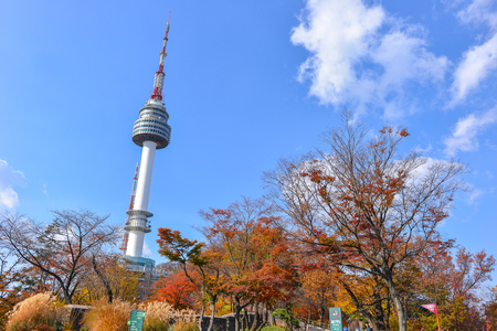SEOUL, SOUTH KOREA - NOV 15, 2017 : Seoul Tower on Namsan mountain, Seoul, South Korea Editorial