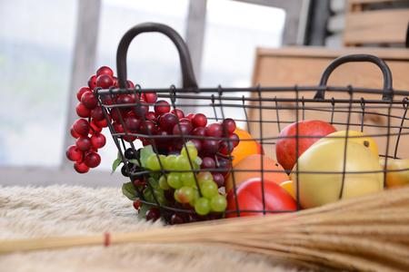 Basket and fresh fruits Banco de Imagens