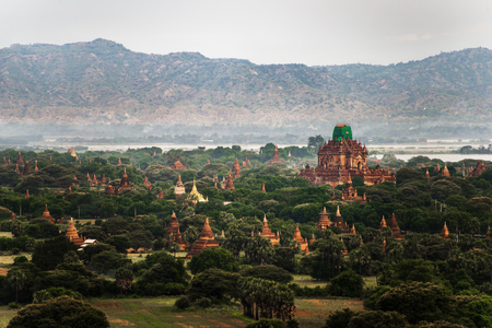 Landscape view of ancient temples, Old Bagan, Myanmar (Burma) Stock Photo