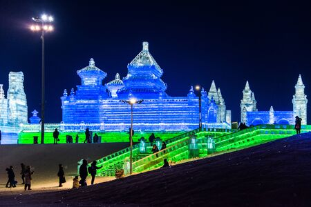 HARBIN, CHINA - JAN 2, 2019: Harbin International Ice and Snow Sculpture Festival is an annual winter festival that takes place in Harbin. It is the world largest ice and snow festival. Editorial