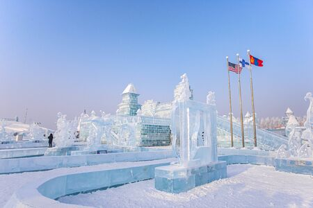 HARBIN, CHINA - JAN 15, 2020: Harbin International Ice and Snow Sculpture Festival is an annual winter festival that takes place in Harbin. It is the world largest ice and snow festival.