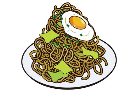 A large Japanese warm yakisoba served on a plate