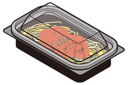 Japanese meat sauce pasta lunch box-lid closed Stock Illustratie