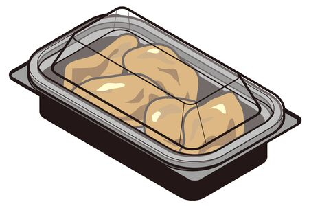 Deep fried in a food pack for takeaway-lid closed