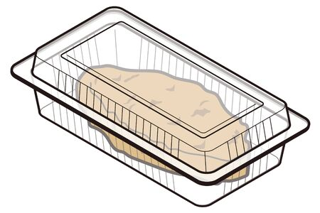 Pork cutlet in a food pack for takeaway-lid closed