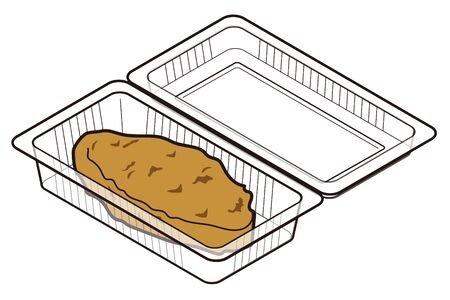 Pork cutlet in a food pack for takeaway Ilustracja