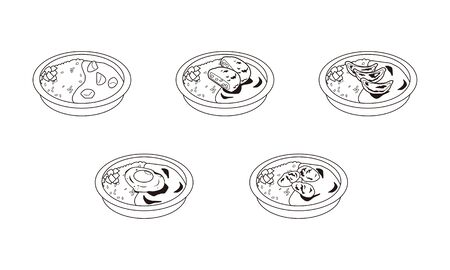 Illustration set of takeaway curry lunch Çizim