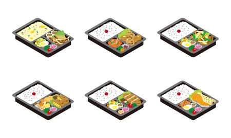 A set of 6 illustrations of lunch box to take home in Japan