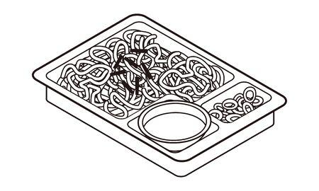 Japanese zaru soba lunch box Vektorové ilustrace