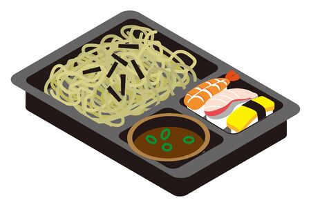 Japanese zaru soba and sushi lunch box