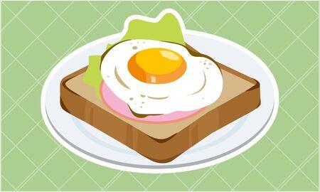 Ham and egg toast  イラスト・ベクター素材