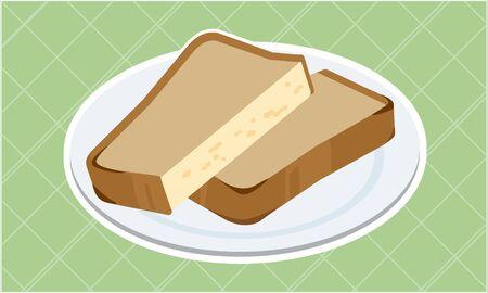 toast cut in half  イラスト・ベクター素材