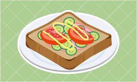 Tomato and cucumber ham toast  イラスト・ベクター素材